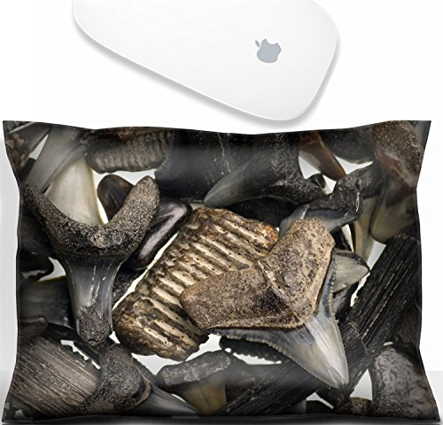 Luxlady Mouse Wrist Rest Office Decor Wrist Supporter Pillow fossilized shark teeth isolated on a pure white background. IMAGE: 4456891