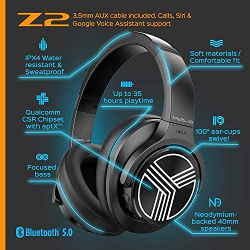 TREBLAB Z2 | Over Ear Workout Headphones with Microphone | Bluetooth 5.0, Active Noise Cancelling (ANC) | Up to 35H Battery Life | Wireless Headphones for Sport, Workout, Running, Gym (Black) 51TB5kpv 2B0L