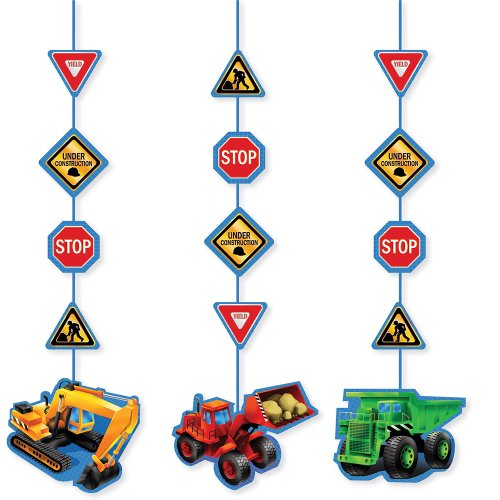Dump Truck Birthday (3-Piece Hanging Cutout Party Decorations, Under Construction)
