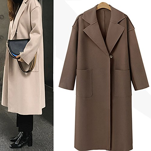 Cardigan Long Woollen Coffee Overcoat Jacket Oversize Clearance Loose Cashmere Women Coat Sleeve OYSOHE pw5q8Tq