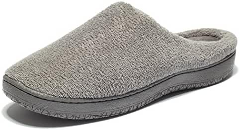 KENSBUY Men's Slip-on Warm Memory Foam Coral Fleece Indoor/Outdoor Slippers