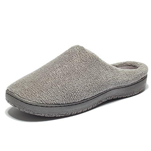 KENSBUY Mens Slip-On Warm Memory Foam Coral Fleece Indoor/Outdoor Slippers Grey tllxokB78