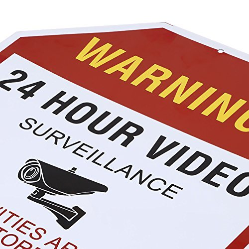 NONMON Video Surveillance Sign - Warning 24 Hour Security Alert 12'' X 12'' Octagon Aluminum Sign by NONMON (Image #2)