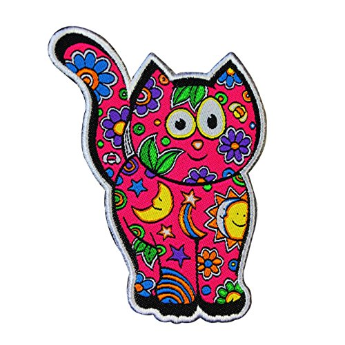 Morris Cats - Dan Morris Cosmic Cat Patch Friendly Hippie Kitty Artist Woven Iron On Applique