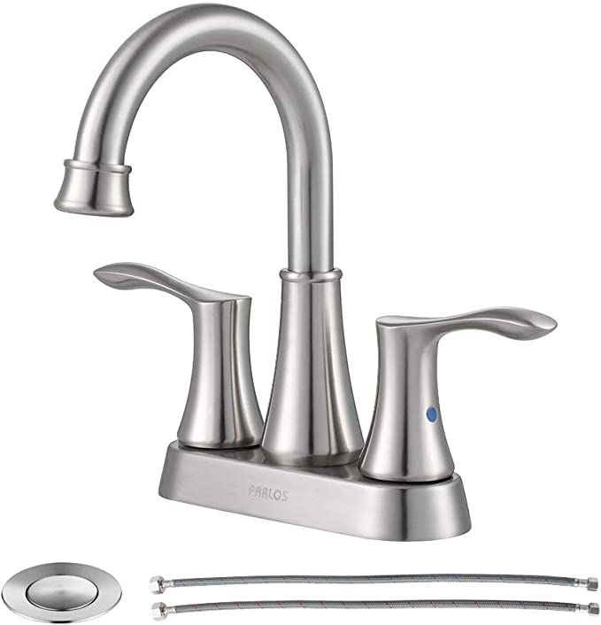 PARLOS Swivel Spout 2-Handle Lavatory Faucet Brushed Nickel Bathroom Sink Faucet