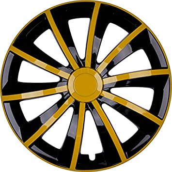 Premium Wheel Trims Model: Gral Wheel Trims Set of 4, Yellow/Black, Rim Diameter: 15