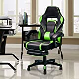 Giantex Gaming Chair Racing Chair Ergonomic High-Back with Footrest and Lumbar Support Adjusting Swivel Executive Office Desk Gaming Chair (Green)