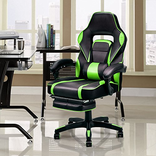 Giantex Gaming Chair Race High Back Reclining Chair Office Swivel Computer  Task Desk Chair With Ottoman