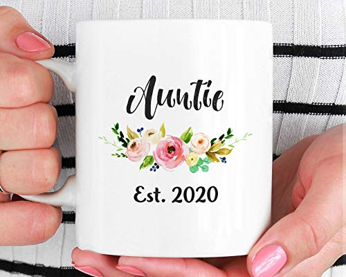 Auntie Est 2020 Mug, Gift for New Aunt, New Auntie Mug, Aunt to Be Gift, Pregnancy Reveal Cute Gift Ideas, Baby Announcement to New Aunt (Best Baby Announcement Ideas)