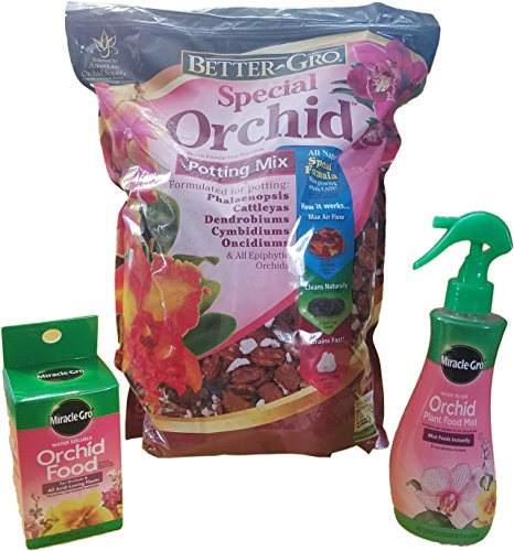 Sun Bulb 5002 Better-Gro Special Orchid Mix-8 Quarts, Miracle-Gro Orchid Plant Food Mist (Orchid Fertilizer)-8 oz. & Miracle-Gro Orchid Food, 8-Ounce (3 Pack)