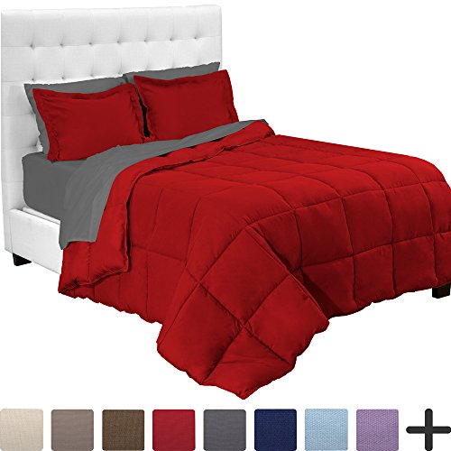 Bare Home 7-Piece Bed-In-A-Bag - Full (Comforter Set: Red, Sheet Set: Grey)