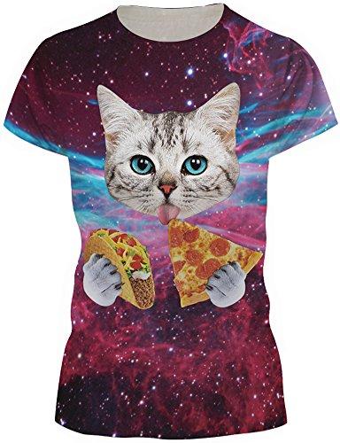 EmilyLe Donna Summer Galaxy Print T-Shirts Magliette Casual a Manica Corta Divertenti Gatto E Pizza