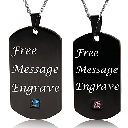 NEHZUS Stainless Steel Plain Dog Tag Pendant Necklace for Couples(Free Engraving) (Black With Gem) by NEHZUS