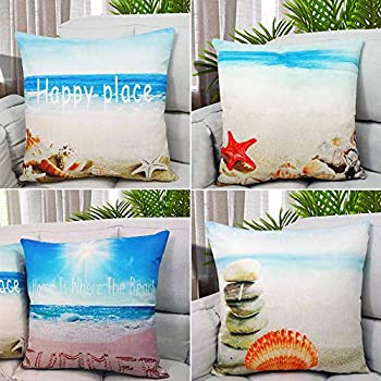 Unibedding Beach Throw Pillow Covers Decorative Nautical Theme Cushion Covers Outdoor for Couch Patio Furniture Fall Decor, 4 Pack 18 x 18 Inch