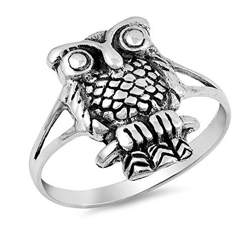 Oxidized Owl Bird Wisdom Sitting Branch Ring 925 Sterling Silver Band Size 5