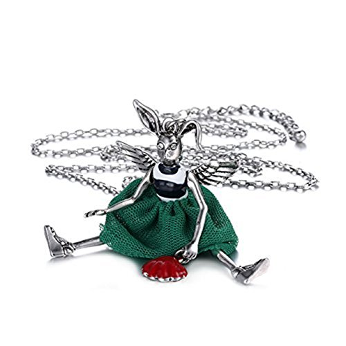 eManco Sweater Doll Animal Long Chain Rabbit Necklace Enamel Retro Silver-Plated Jewely for (Rabbit Plated Necklace)