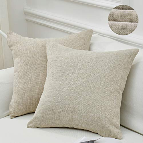 MoMA Decorative Faux Linen Throw Pillow Covers (Set of 2) - Pillow Cover Sham Cushion Cover - Throw Pillow Cover - Sofa Throw Pillow Cover - Square Decorative Pillowcase - Natural Linen - 18