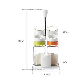Xcjjj Botella de condimento Botella de condimento de vidrio Caja de condimento Tanque de sal Tanque ...