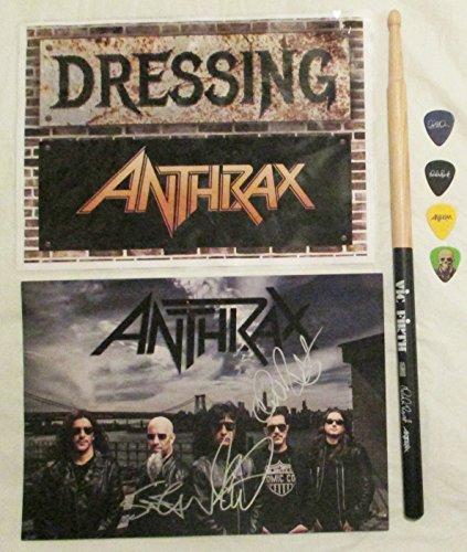 (Anthrax Tour Set Drumstick Guitar Picks Band Signed Promo Photo Dressing Room Sign )