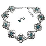 Western Style Imitation Turquoise Silver Tone Choker Necklace & Earrings Set (Tribal with Arrow)