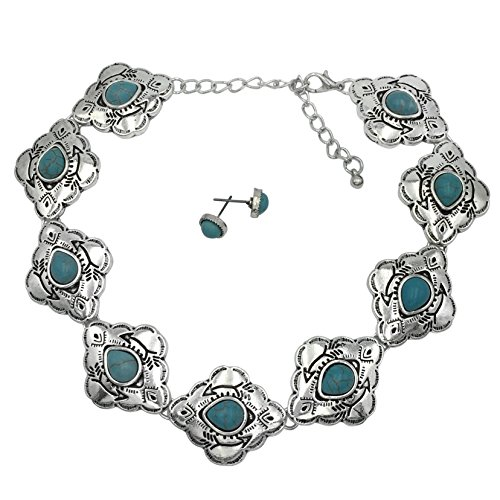 Gypsy Jewels Western Style Imitation Turquoise Silver Tone Choker Necklace & Earrings Set (Tribal with Arrow) -