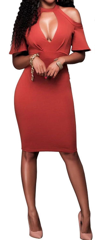 Women Sexy Halter Neck Cut Out Key Hole Short Sleeve Bodycon Clubwear Midi Dress