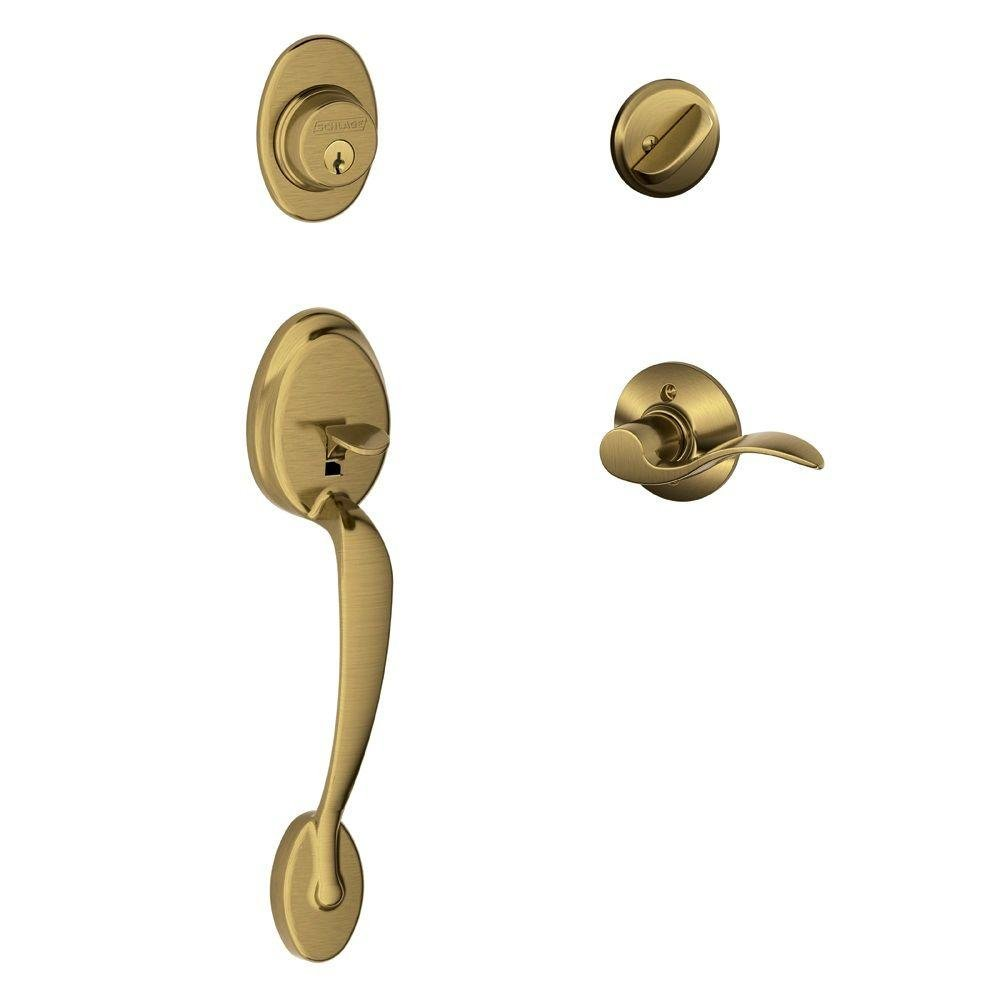 Plymouth Single Cylinder Handleset and Left Hand Accent Lever F60 PLY 609 ACC LH Antique Brass Schlage