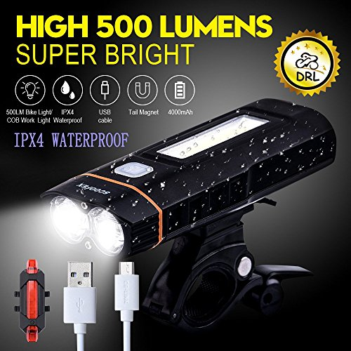 Scoofex Bike Lights USB Rechargeable - LED Bicycle Light Set Front Headlight and Back 100 LM LED Tail Light - Cycling Lights for Road & Mountain - Smart Sensors - Easy Install - Waterproof
