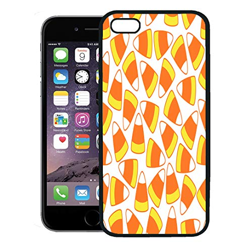 Semtomn Phone Case for iPhone 8 Plus case,Colorful Autumn Halloween Party Candy Corn Ornamental Pattern on Bright Celebration iPhone 7 Plus case Cover,Black -