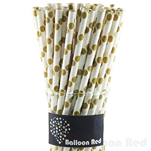 Biodegradable Paper Drinking Straws (Premium Quality), Pack of 50, Polka Dot - Gold