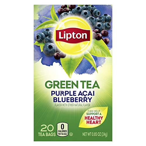 Lipton Green Tea Bags Flavored with Other Natural Flavors Purple Acai Blueberry Can Help Support a Healthy Heart 1.13 oz 20 Count
