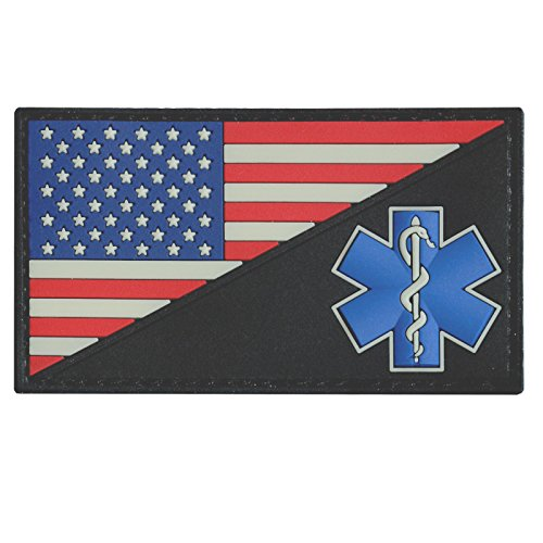 LEGEEON USA American Flag EMS EMT Star of Life Paramedic Medic Tactical Morale PVC Rubber Hook-and-Loop