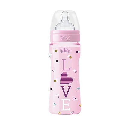Chicco Wellbeing - Biberón con tetina de silicona y flujo rápido para bebé de 4 meses
