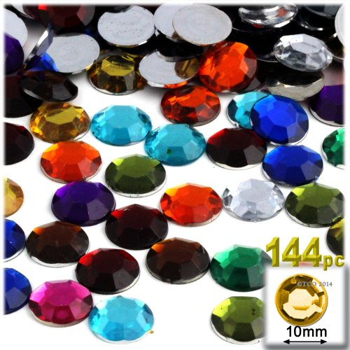 The Crafts Outlet 144-Piece Round Rhinestones, 10mm, Jewel Tone Assortment