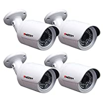 TMEZON 4 Pack 1.3 Mega Pixel 720P 1280720P HD-IP Full Real Time Weatherproof Outdoor Network ONVIF IP Security Camera IR Cut Day Night Vision 24IR IR LEDs for NVR System PoE Power Over Ethernet