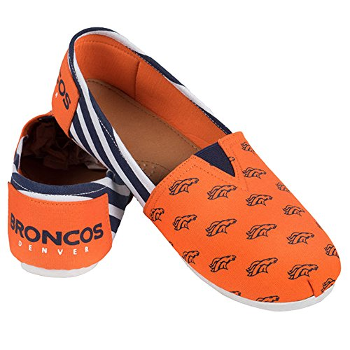 Collectibles Summer Ladies Womens Broncos Team Slip Pick On Forever Canvas Denver Football Stripes Shoes NFL 2015 AqXTTxwzd