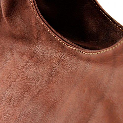 ModaModa de–Italiana. Bolso bandolera de piel para Bolso (piel de napa it28 marrón castaño