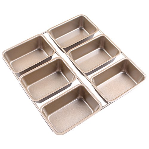 BAKER DEPOT Non Stick Carbon Steel Cake Mold 6 Cavity Rectangle Baking Pan Loaf Molds Champagne Color by BAKER DEPOT