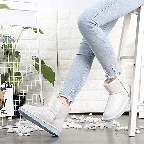 JUWOJIA Démarrage De Neige pour Femmes Fashion en Chaudes Cuir Chaussures Chaudes en 35|Boots white c395c7