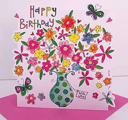 Rachel Ellen jarrón de flores Feliz cumpleaños tarjeta de ...