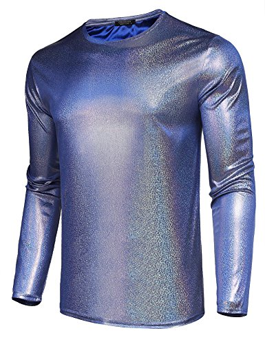 COOFANDY Men Nightclub Sequins Fashion Hipster Hip Hop Long Sleeve Shirts,Blue,Small ()