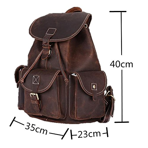 Uni Unisex Backpack 36 Backpack Rucksack Brown Shoulder Vintage 38 College Dokin Shopping 15cm Leather Vintage Genuine City Women OwfY4Aqv