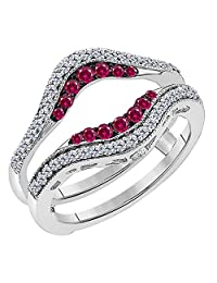 Jewelryhub 14k White Gold Plated Sterling Silver Double Row Pave Set Classic Style Halo Engagement Wedding Enhancer Ring Guard with CZ Red Ruby
