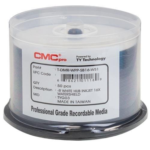 600 CMC Pro Taiyo Yuden 16X DVD-R 4.7GB Water Shield White Inkjet Hub Printable