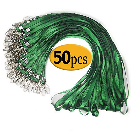 Green Lanyard Clip Swivel Hook 50 Pack 33-Inch Lanyards with Clip Badge Lanyard Bulk Office Nylon Neck Flat Green lanyards for id Badges Key Chains(Green) -