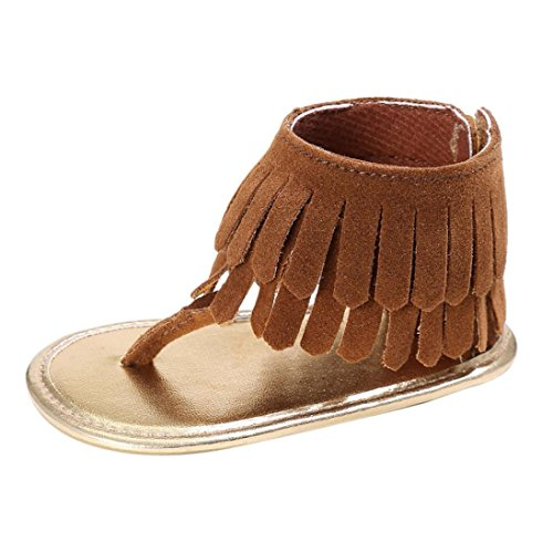 Cute Baby Girl Sandals Summer Tassel Flower Soft Sole Sneakers Toddler Shoes (S: 0~6 Months, Brown)