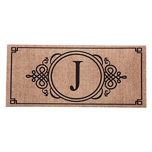 Evergreen Burlap Monogram J Decorative Mat Insert, 10 x 22 inches (Outdoor Monogram)