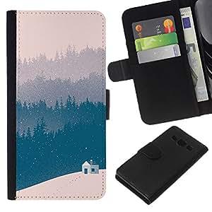 KLONGSHOP // Tirón de la caja Cartera de cuero con ranuras para tarjetas - Azul del invierno Bosque Ver Beige - Samsung Galaxy A3 //