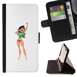 Momo Phone Case / Flip Funda de Cuero Case Cover - Bostezar Chica;;;;;;;; - Samsung Galaxy S6