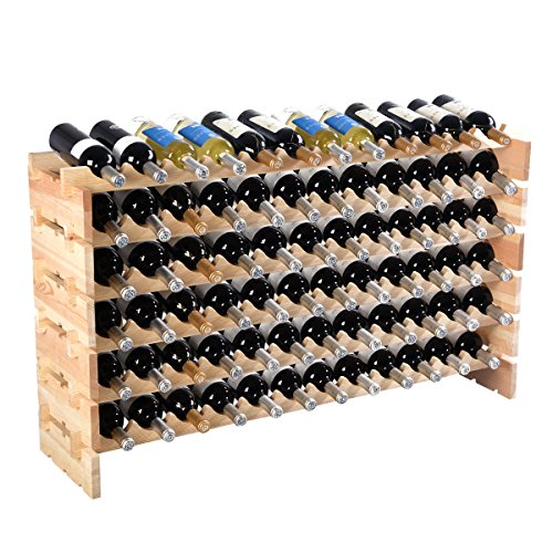 (onestops8 Bottle Wood Wine Rack Stackable Storage 6 Tier Storage Display Shelves)